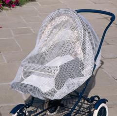 Baby pram with white net