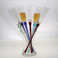 Champagne sets 1 decanter + 6 champagne glass (with 6 different light color stem )