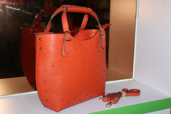 Women fashion stud genuine leather handbags