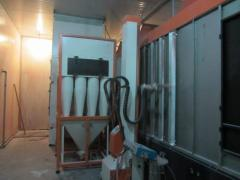 POWDER COATING BOOTH WITH ROTARY CYCLONE RECOVERY