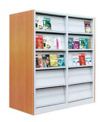 钢木复双柱双面书架HL014