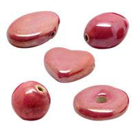 Dark Pink Pearlized Ceramic Beads