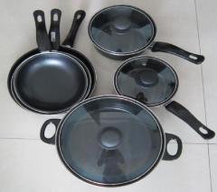 9pcs carbon steel pan