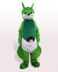 Green kangaroo artoon costumes,team mascot, school mascot