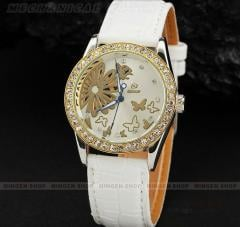 Fashion Women Lady Crystal Butterfly Flower White