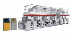 High speed computerized rotogravure printing machine.