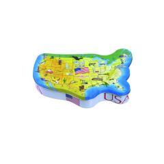 Customized map shape tin case manufacture china