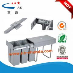 Wholesale plastic trash cans kitchen cabinet 3 bin