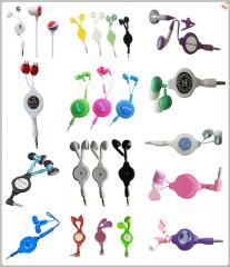 Retractable headphone,rectractable phone headset