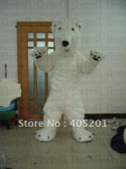 Long fur polar bear mascot costume polar bear