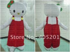 Red suspender trousers hello kitty mascot costumes
