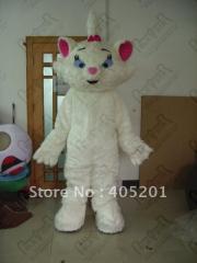 Beautiful white fur cat mascot costumes cat
