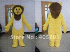 Yellow lion mascot costume super soft fur lion