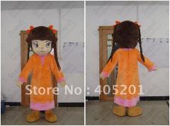 Orange dress girl mascot costumes little girl