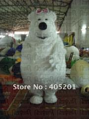 Polar bear costume long fur mascot costume