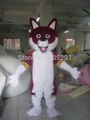 Wine red skin dog mascot costumes shine eyes