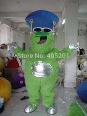 Custom long green fur monster mascot costumes blue