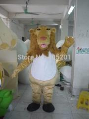 Hippie style hair lion mascot costume white belly