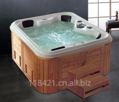 Freestanding Wooden Frame Acrylic Big Size Square Wood SPA Bathtub K-8985A
