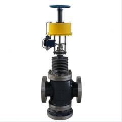 Three-way globe control valve