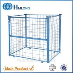 QT-9 Industrial stackable steel wire cage pallet Welded steel  wire mesh pallet cage