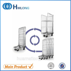 BY-08 Transportation nestable 3 sided wire rolling metal storage cage