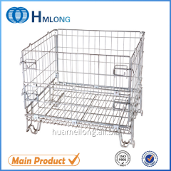 F-19 Warehouse stackable metal foldable cage pallets