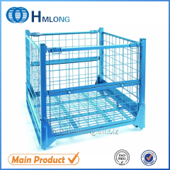 F-4 Foldable steel storage stacking pallet cage