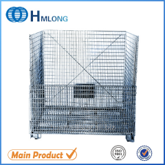 W-10 Logistic folding steel storage cage with wheels