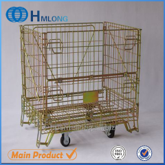 F-1 Warehouse foldable storage wire mesh cage