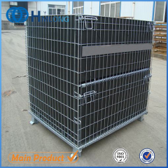 W-28 Warehouse welded folding wire mesh pallet cage for pet preform