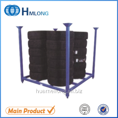 HML6060 Warehouse stacking steel tire pallet with detachable posts