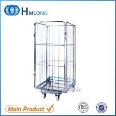 BY-09  4 sided Warehouse storage metal mesh wire roll cage
