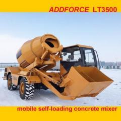 New designed self loading auto mobile concrete mixer LT3500