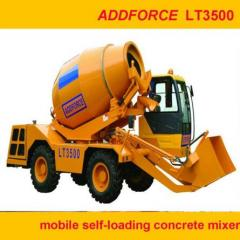 Diesel engine mobile concrete mixer with self loading functions