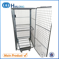 BY-10 Supermarket wire steel storage roll cage pallet security trolley