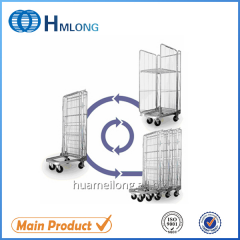 BY-08 Foldable logistic warehouse steel wire rolling pallet trolley