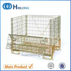 F-16 Galvanized foldable mesh metal storage cage box