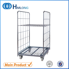 BY-07 2 sides Galvanized wire mesh nested roll cage trolley