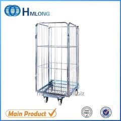 Transportation nestable 4 sided  wire rolling metal storage cage BY-09