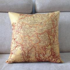 BZ077 Map cotton and linen  hold emoji pillow