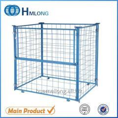 QT-9 Poweder coating metal mesh folding cage pallets