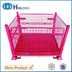 F-4 Logistic folding steel storage cage with wheels