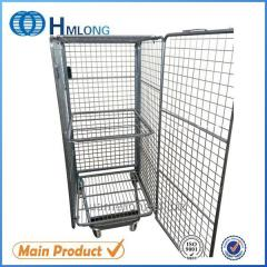 BY-10 4 sided Galvanized folding steel  logistic security roll container