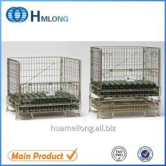 F-5 Logistic folding steel storage cage with wheels glass bottle
