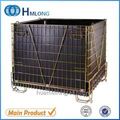 F-28 Logistic folding steel storage cage with wheels for PET Preform