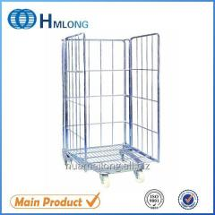 BY-08 Logistics foldable metal wire mesh roll cage cart for sale