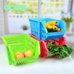 Plastic stackable kitchen storage baskets