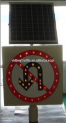 Solar luminous traffic warning sign