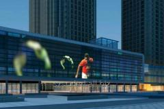 LED media facades to advertise on commercial and